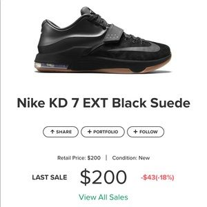 Nike KD 7 EXT Black Suede
